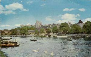 River Thames & Windsor Castle England pm 1962 Postcard