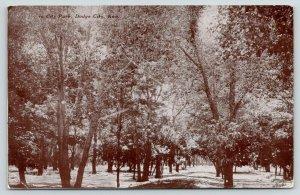 Dodge City Kansas~Thick Shade Trees in City Park~1909 B&W Tom Jones Postcard