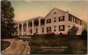 Lewisburg, WV Hand-Colored Postcard GENERAL LEWIS HOTEL Front View c1930s Unused