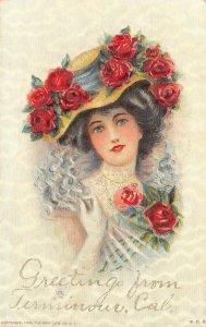 Woman, Flowers, Hat TERMINOUS, CA San Joaquin Co Greetings 1908 Vintage Postcard