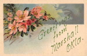Marshall Oklahoma Flower Greeting Antique Postcard K93059