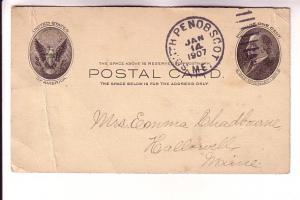 Postal Stationery McKinley 1C,  South Penobscot, Maine Cork Cancel, 1907