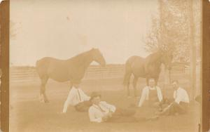 Real Photo Postcard~4 Men in White Shirts Rest in Grass~2 Horses~c1912 RPPC