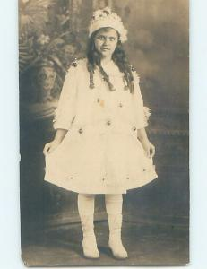 Pre-1918 rppc GIRL WEARING BUTTON SHOES WITH HER HAIR IN CURLS HM0245