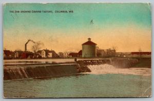 Columbus Wisconsin~Dam & Columbus Canning Co Factory~Homes~Railroad Train~1911
