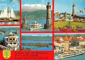 Lindau liegt im Bodensee, Leuchtturm Lighthouse Lion Statue Boat Harbour