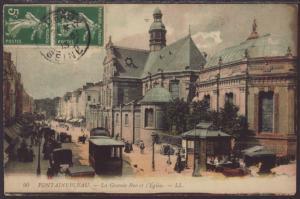 La Grande Rue Et l'Eglise,Fountainbleau,France Postcard