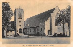 Baldwin Kansas~First Methodist Church~Lamp Post in Front~Hitchcock Drug Co~1930s