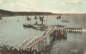 Pier and Bay. Tenby Old vintage antique English postcard