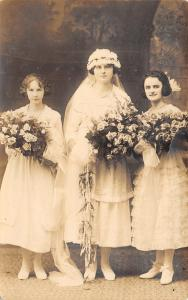 Real Photo Postcard~Wedding Bridesmaids~Bride in Glasses~Flower Bouquets~c1918