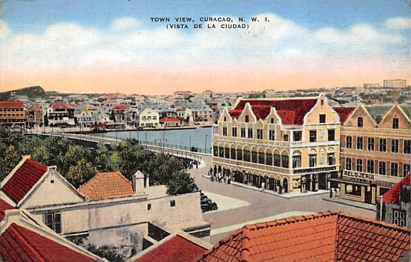 Curacao, Netherlands Antilles Post card Old Vintage Antique Postcard Town Vie...