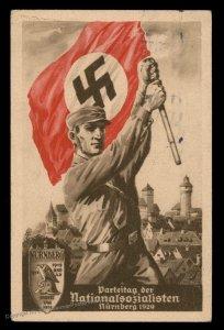 3rd Reich Germany 1929 Reichsparteitag Nr1 Propaganda Card USED AT RALLY 90973