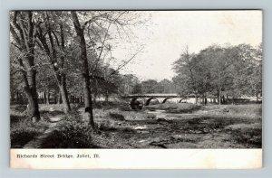 Joliet IL-Illinois, Richards Street Bridge, Vintage c1910 Postcard