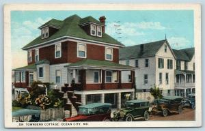 Postcard MD Ocean City Dr Townsend Cottage Residence on Baltimore Ave 1930s S7