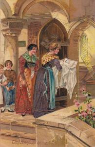 Thy Kingdom come, Women and children entering church for a baptism of baby,...