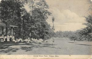 Toledo Ohio~Central Grove Park~Victorian Lades & Children at Shelter House~1908