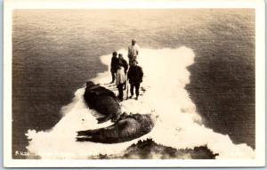 Vintage RPPC Postcard Eskimos P-1626 Walrus Hunters, Alaska EIDE Photo c1940s