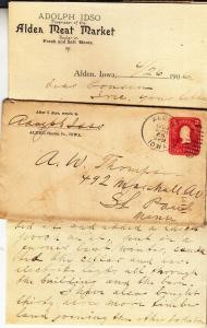 Alden Iowa Letter on Alden Meat Market Letterhead 1906