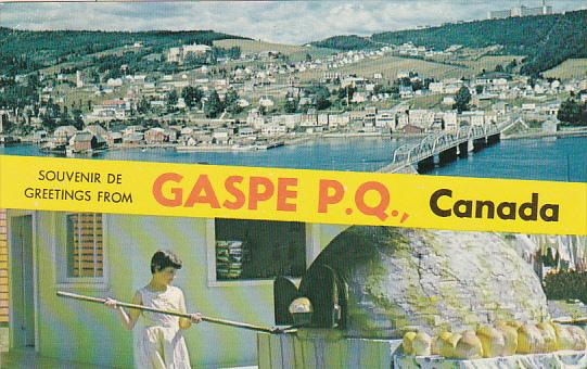 Canada Quebec Gaspe Souvenir De Greetings From Gaspe P Q  Canada 1966