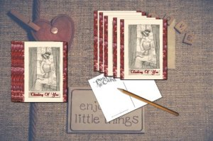 All Occasion Note Cards Set, Edwardian Woman sitting on Window Seat in Thought