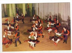 NATIVE FOLK DANCE = Men and Women in Traditional Dress Dance the Mazur,Masovi...