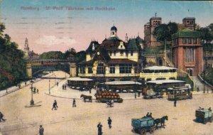 Germany Hamburg St Pauli Fährhaus mit Hochbahn Posted 03.23