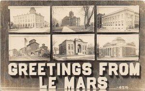 F99/ Le Mars Iowa RPPC Postcard 1917 6View Elevator Court House Hotel