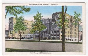 Notre Dame Hospital Montreal Quebec Canada linen postcard