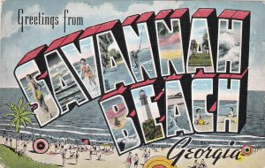 SAVANNAH BEACH, Georgia, PU-1943; 12 Views, Large Latter, Greetings