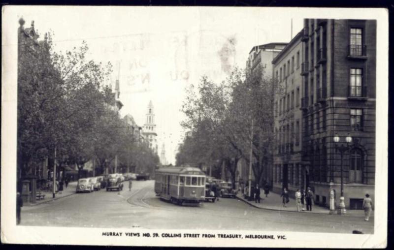 australia, MELBOURNE, Collins Street, TRAM (1956) RPPC