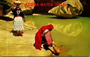 New Mexico Acoma Water Hole Indian Women Collecting Water