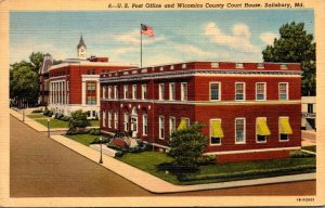 Maryland Salisbury Post Office and Wicomico County Court House 1942 Curteich