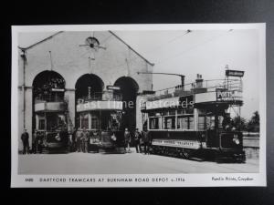 London Tram DARTFORD TRAMCARS AT BURNHAM ROAD DEPOT Pamlin Print Postcard M88