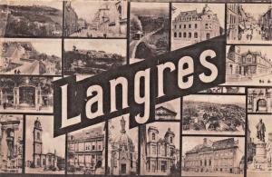 LANGRES FRANCE-LARGE LETTER MULTI PHOTO-LEVY & FILS POSTCARD
