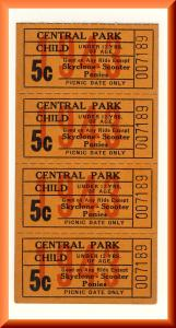 4-1943 Central Park Amusement Park Tickets, Allentown, Pennsylvania/PA/Penn