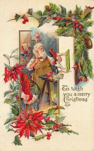 Wish merry Christmas Brown Robed Santa Claus Artist Painting Postcard