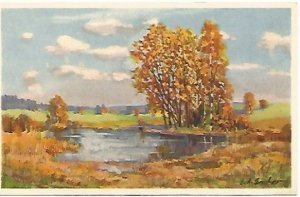 Vintage Postcard, Flame Orange and Burnt Umber Trees in Tranquil Country Scene