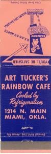 Miami, Oklahoma/OK Matchcover, Art Tucker's Rainbow Cafe