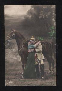 061317 WWI MILITARY GERMAN PROPAGANDA Horse & girl Old PC