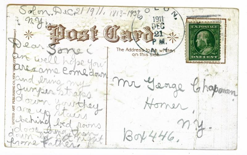 Solon to Homer, New York Merry Christmas Embossed 1911 Postcard