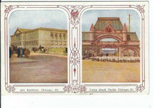 CE-196 IL Chicago John O Winsch Art Institute Union Stock Divided Back Postcard