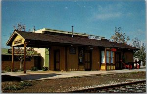 LA MESA, California Postcard Railroad Depot / Train Station Mary Jayne's c1980s