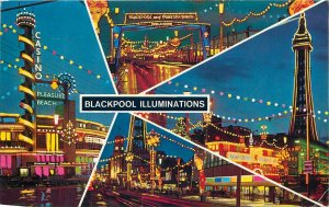 UK England Postcard Blackpool illuminations various night sights