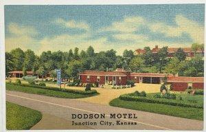 Old VTG Linen Era Postcard Dodson Motel Junction City, Kansas Unused Unposted