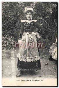 Old Postcard Folklore Young girl Pont Aven