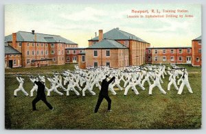 Newport RI~Naval Training Station Lessons~Alphabetical Drilling by Arms~c1910