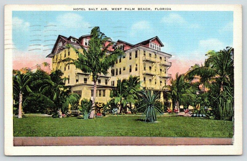West Palm Beach Florida~Hotel Salt Air~View Across Front Lawn~1938 Postcard