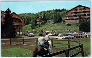 STE ADELE, QUEBEC Canada  Roadside SUN VALLEY HOTEL SUISSE Horses 1960s Postcard