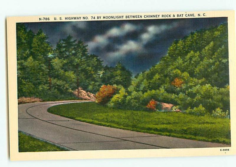Vintage Postcard N-786 Night Scene Highway 74 bat Cave Ch North Carolina  # 2203