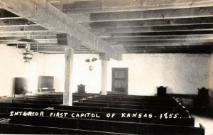 LP17 Pawnee Kansas RPPC  Postcard First Capitol Interior